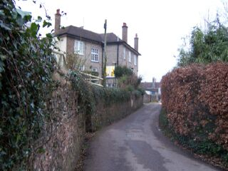 Looking up Haye Lane towards the back of the guest hous